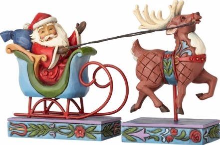 Jim Shore 4056609 Santa In Sleigh Wit