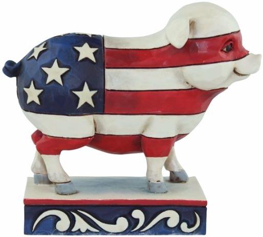 Jim Shore 4056951 Flag Pig Mini Figurine