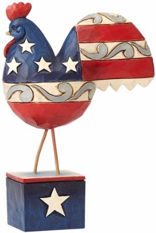 Jim Shore 4056952 Flag Rooster Mini Figurine