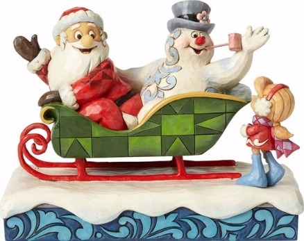 Jim Shore Frosty 4058189 Santa & Frosty in Sleigh