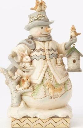 Jim Shore 4058734 Woodland Snowman w Bir