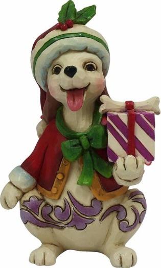 Jim Shore 4058809 Christmas Dog w Gift Figurine