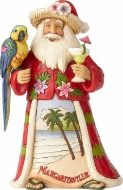 Jim Shore Margaritaville 4059121 Santa and Parrot Figurine