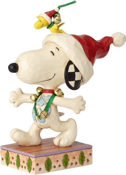 Jim Shore Peanuts 6000985 Snoopy and Woodstock with Jingle Bells