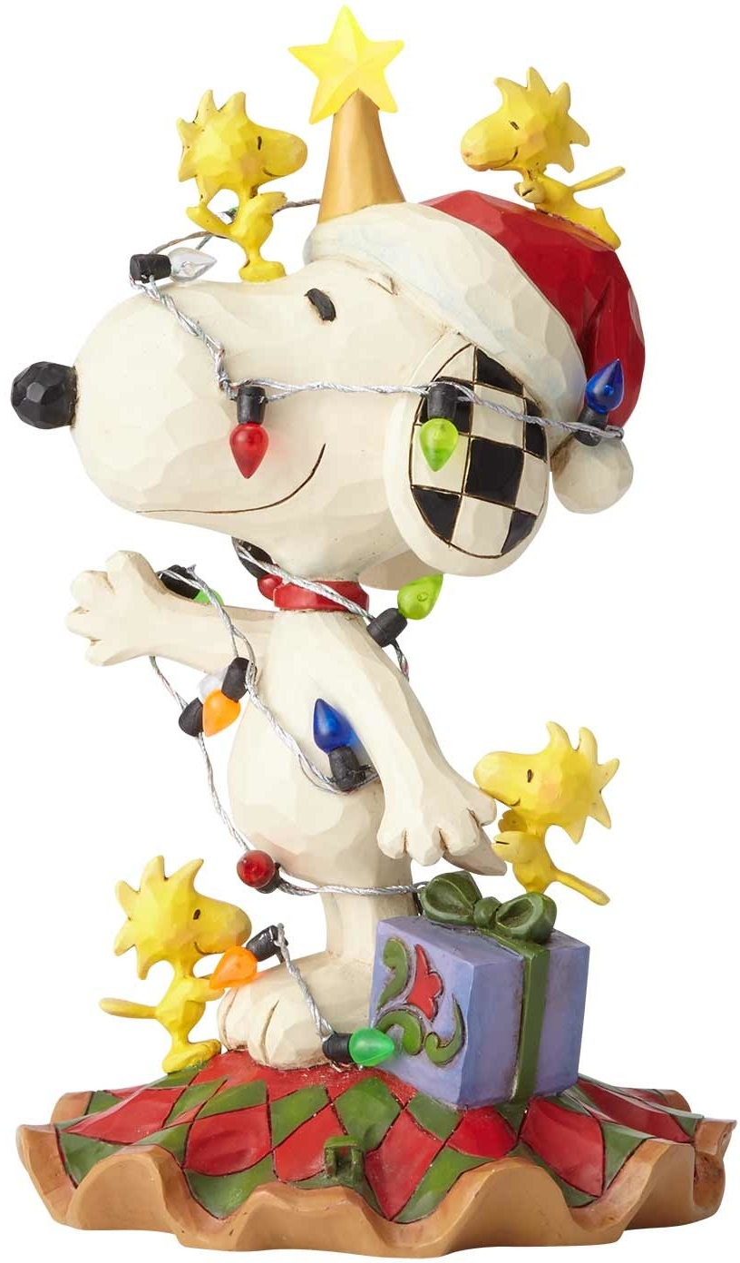 Jim Shore Peanuts 6000986 Snoopy being decorated in lights