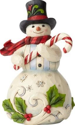 Jim Shore 6001477 Snowman Candy Cane Figurine
