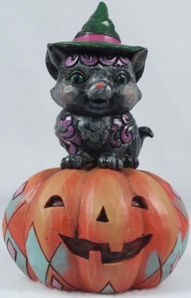 Jim Shore 6001548 Pint Sized Black Cat on Pumpkin