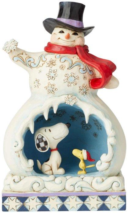 Jim Shore Peanuts 6002774 Snowman with Snoopy Scen