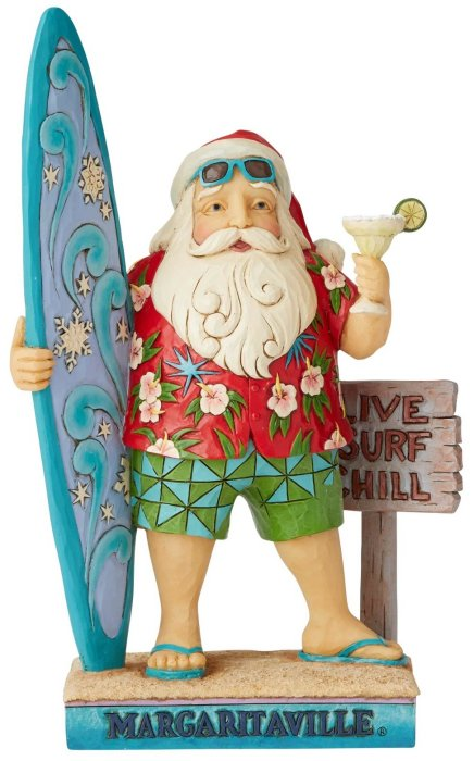 Jim Shore Margaritaville 6004007N Santa With Surf Board