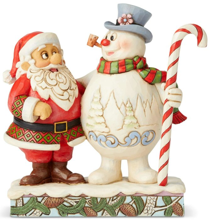 Jim Shore Frosty 6004157 Santa And Frosty With Candy Cane