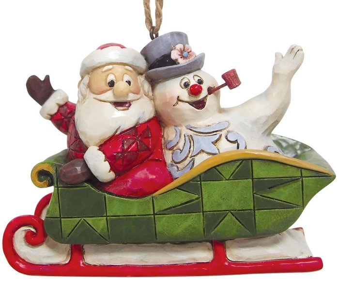 Jim Shore Frosty 6004159 Santa And Frosty In Sleigh Ornament