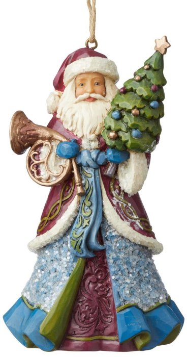Jim Shore 6004187 Victorian Santa Holding Horn Ornament