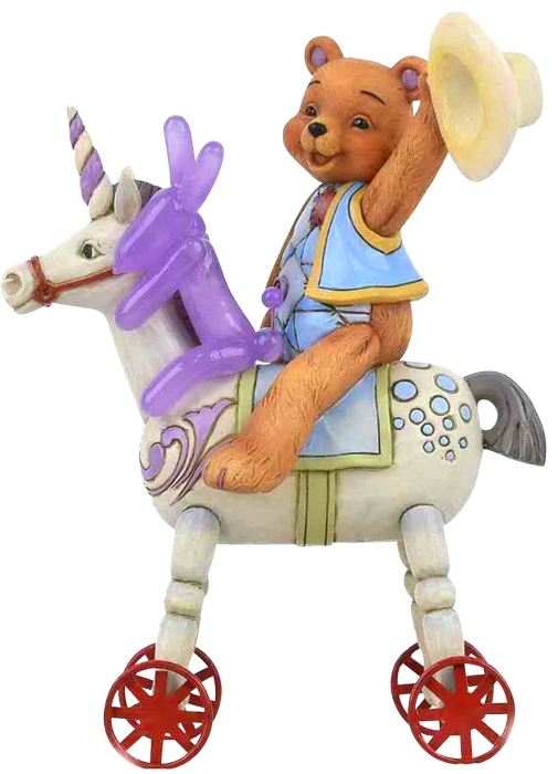 Jim Shore Button and Squeaky 6005129 Button and Squeaky On Unicorn Figurine
