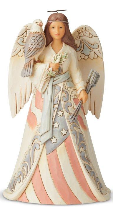 Jim Shore 6005256 Woodland Patriotic Angel Figurine