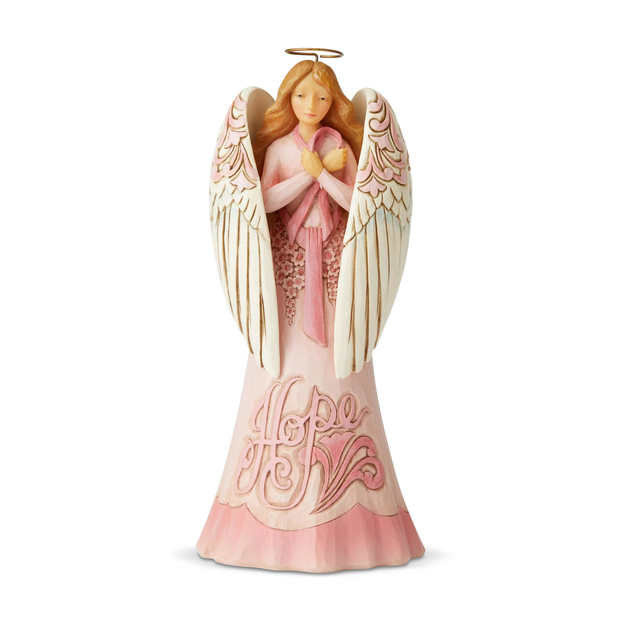 Jim Shore 6005910 Breast Cancer Angel Never Give Up Figurine