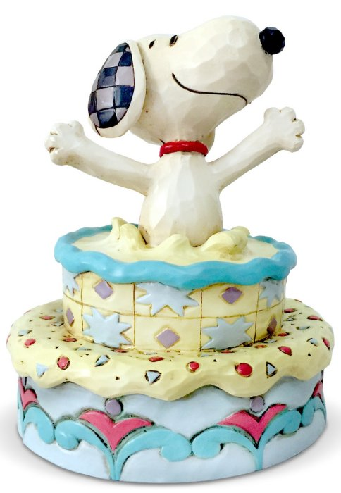 Jim Shore Peanuts 6005944 Snoopy Jumping out of Cake Figurine