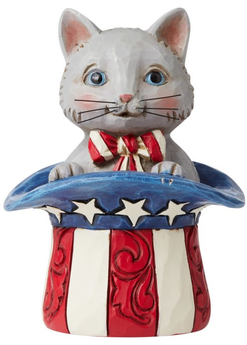Jim Shore 6006443 Mini Patriotic Kitten Figurine