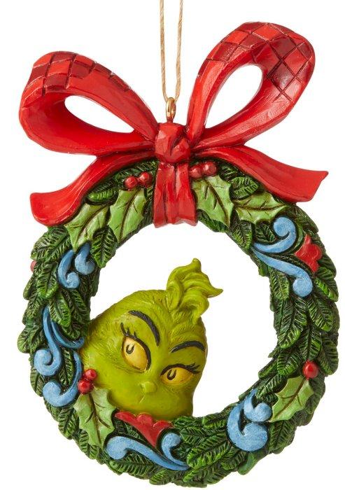 Jim Shore Grinch 6006571 Grinch Peeking Through Wreath Ornament