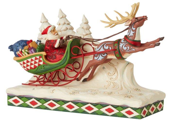Jim Shore 6006635 Reindeer Pulling Santa Figurine