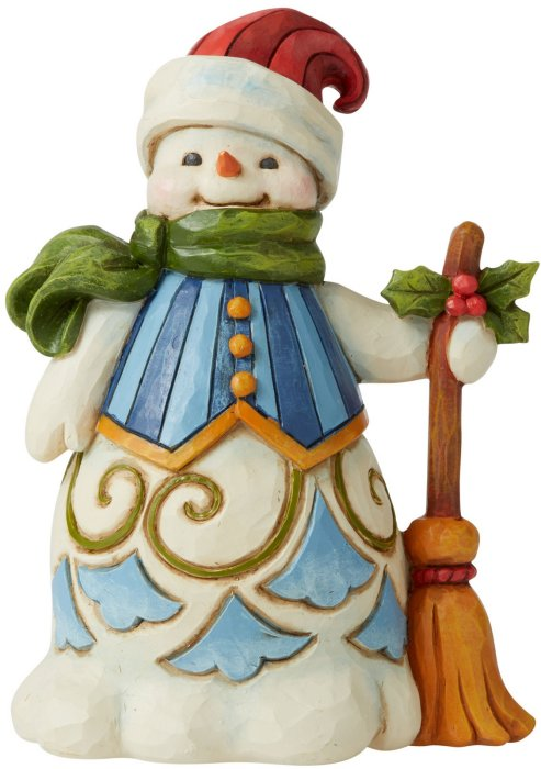 Jim Shore 6006653 Snowman with Broom Figurine