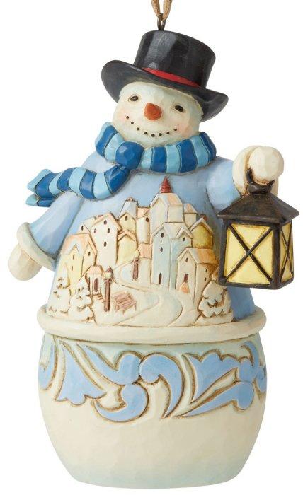 Jim Shore 6006678 Snowman and Village Scene Hanging Ornament
