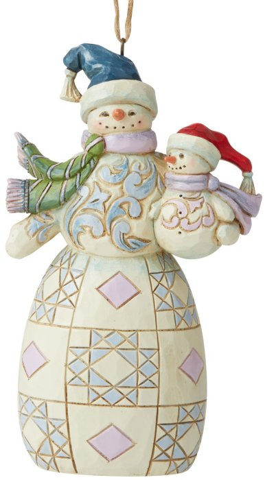 Jim Shore 6006679 Snowman with Snowbaby Hanging Ornament