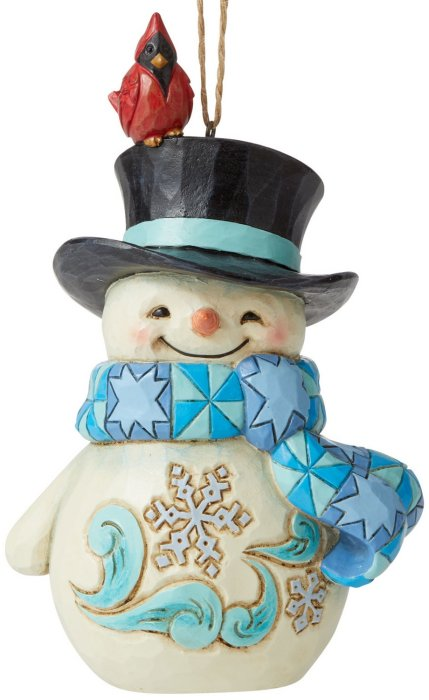 Jim Shore 6006680 Snowman with Cardinal Hanging Ornament