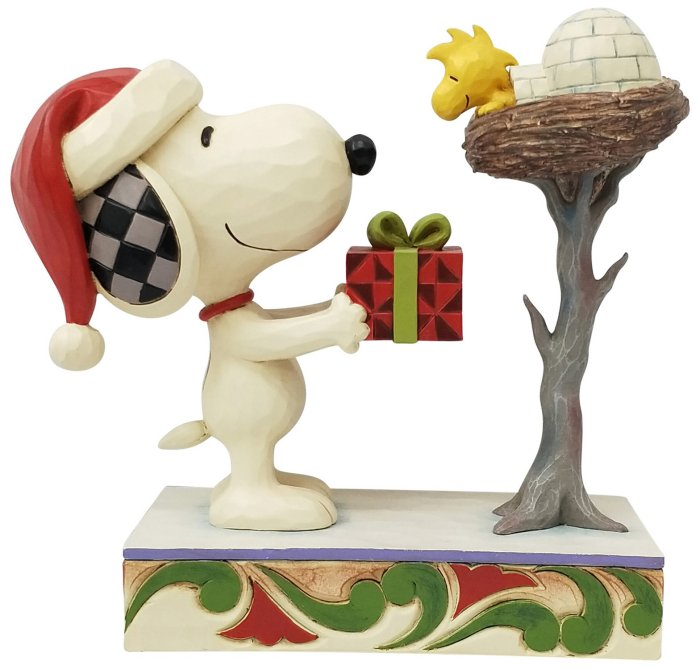 Jim Shore Peanuts 6006938 Snoopy With Gift for Woodstock Figurine