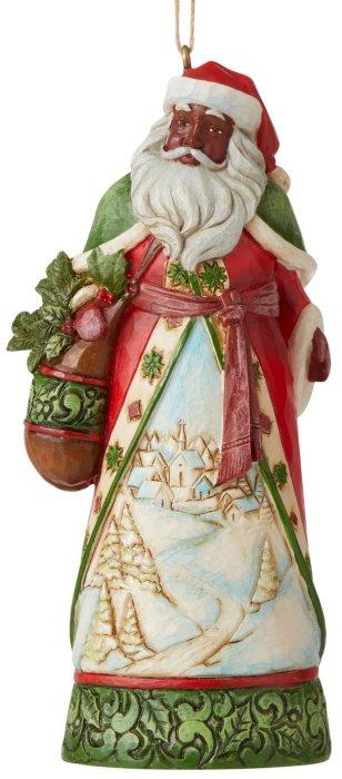 Jim Shore 6007315 Black Santa with Winter Scene Ornament