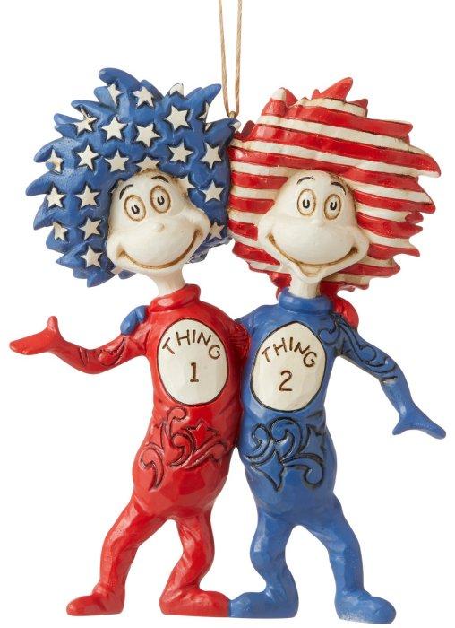 Jim Shore Dr Seuss 6007797N Patriotic Thing 1 Thing 2 Ornament