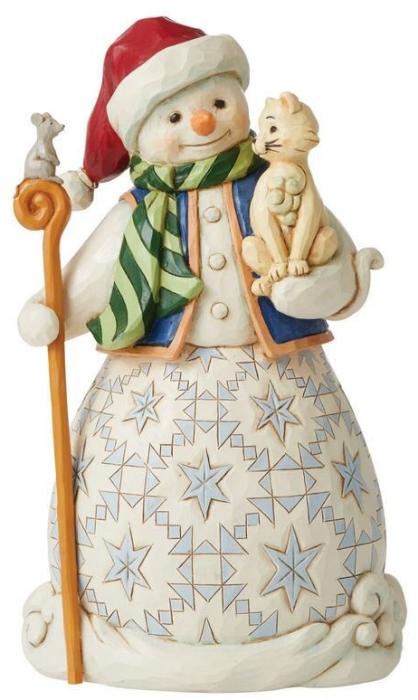 Jim Shore 6008097 Snowman with Cat Figurine