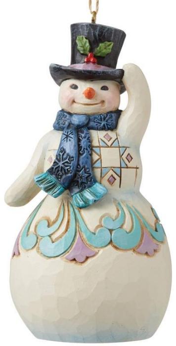 Jim Shore 6008130 Snowman with Top Hat Ornament