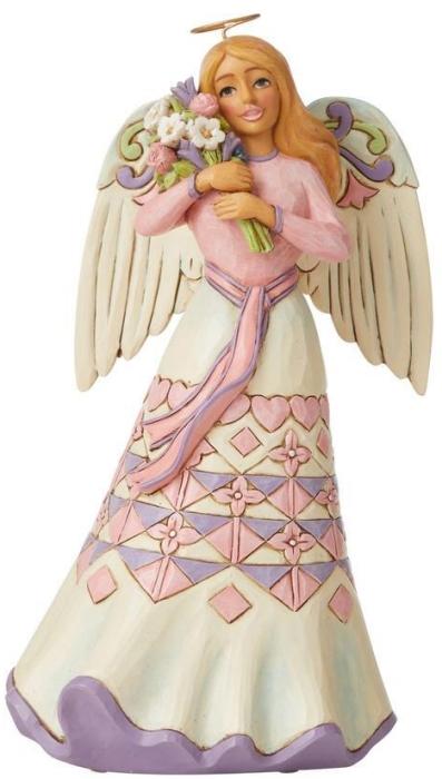 Jim Shore 6008794 Angel Holding Flower Figurine