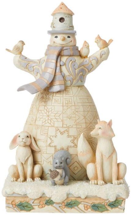 Jim Shore 6008862N Woodland Snowman and Birdhouse Figurine