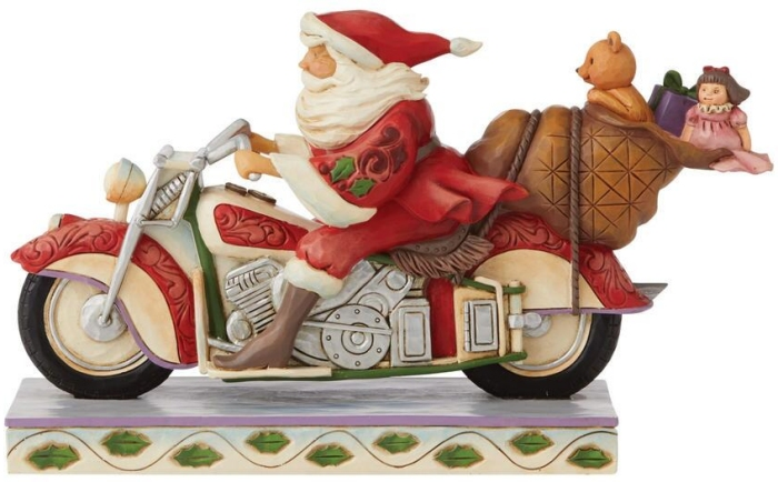 Jim Shore 6008883 Santa Riding Motorcycle Figurine