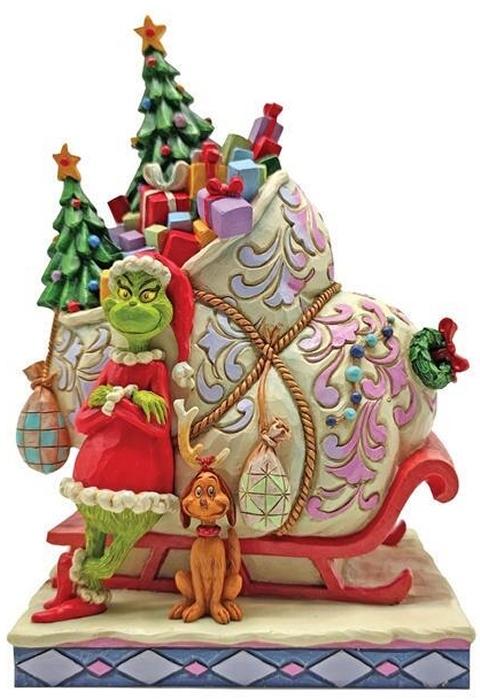Jim Shore Grinch 6008884 Grinch & Max With Sleigh Figurine
