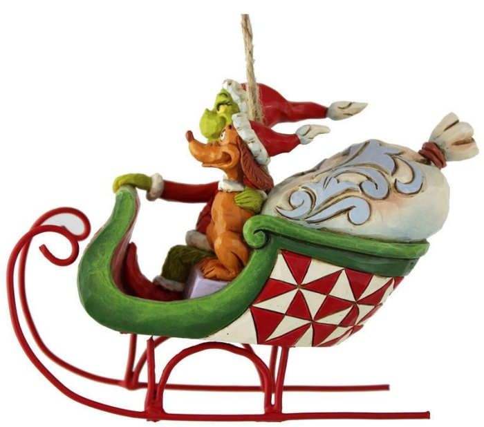 Jim Shore Grinch 6008895 Grinch and Max in Sleigh Ornament