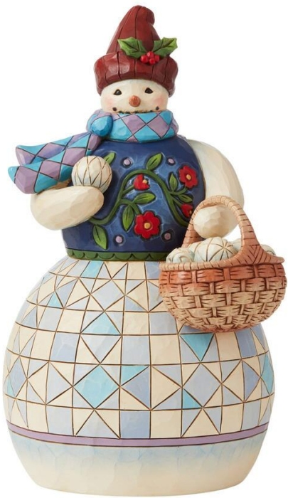 Jim Shore 6008919 Snowman and Basket Figurine
