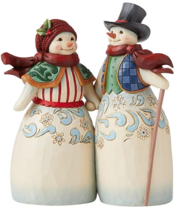 Jim Shore 6008920 Snowman Couple Holding Hands Figurine