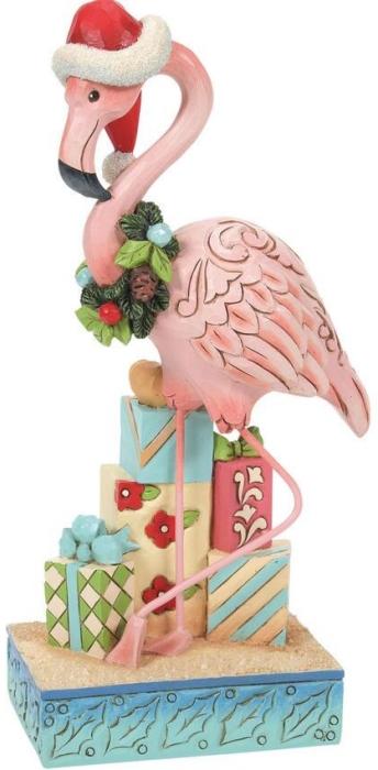 Jim Shore 6008934N Christmas Flamingo Figurine