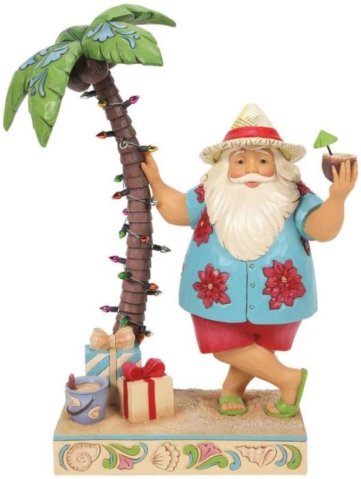 Jim Shore 6008935 Santa By Palm Tree Figurine