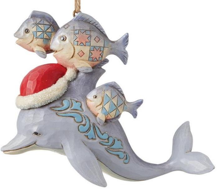 Jim Shore 6008936N Christmas Dolphin Ornament