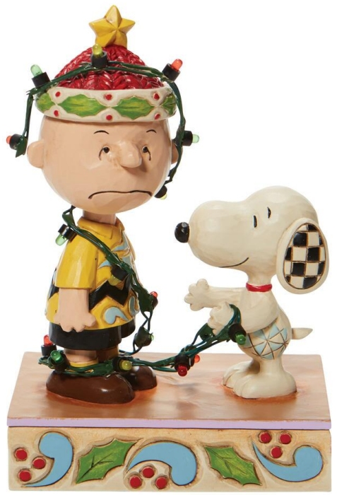 Jim Shore Peanuts 6008954 Charlie Brown Tangled In Lights Figurine