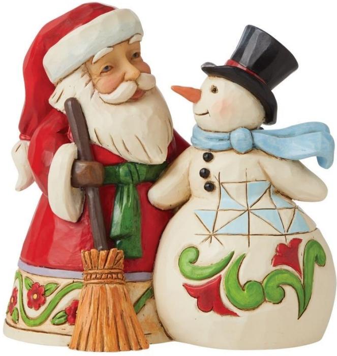 Jim Shore 6009004N Santa with Snowman Figurine