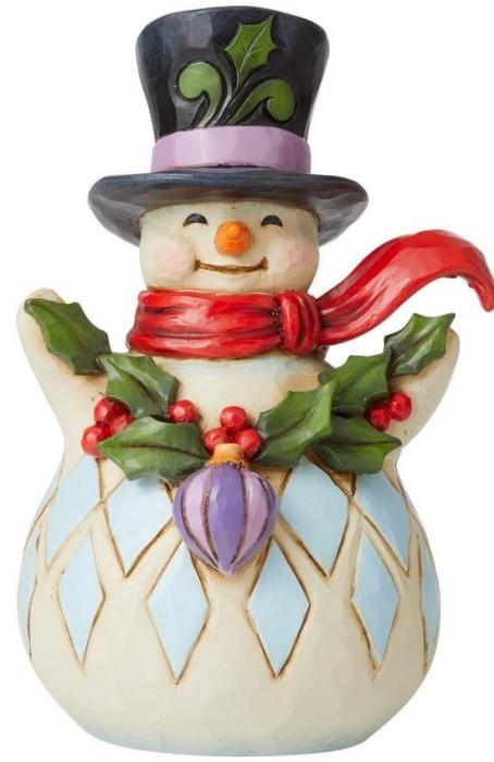 Jim Shore 6009006 Snowman Holly Garland Figurine