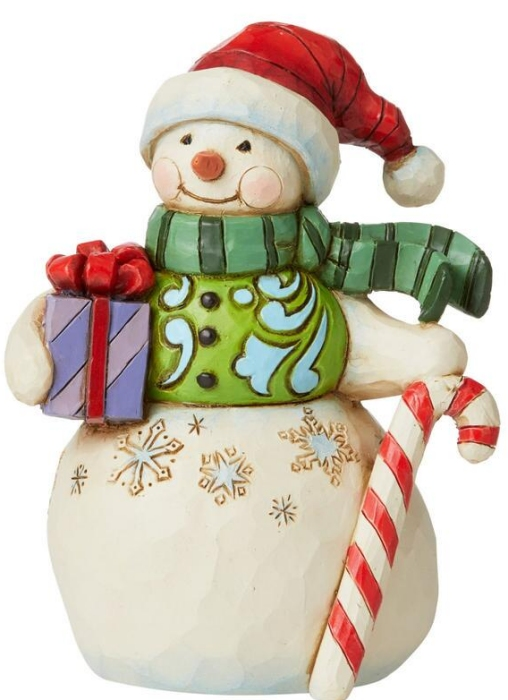 Jim Shore 6009009N Snowman and Gift and Candy Cane Figurine