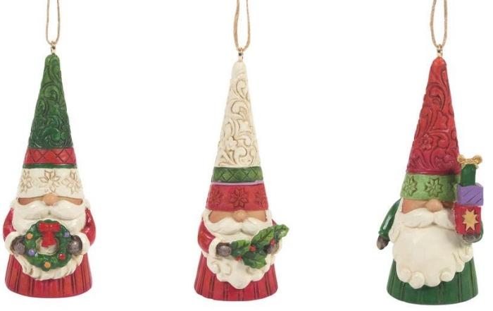 Jim Shore 6009186 Christmas Gnomes Ornaments Set of 3