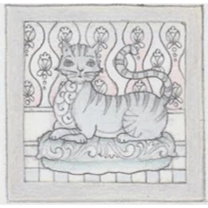 Jim Shore 6009338N Grey Laying Cat Plaque