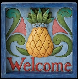 Jim Shore 6009340N Welcome Pineapple Plaque