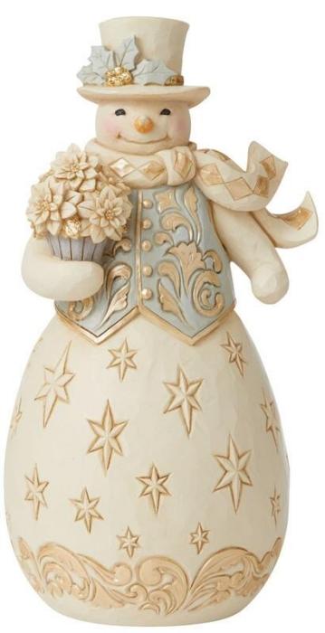 Jim Shore 6009398 Holiday Lustre Snowman Figurine